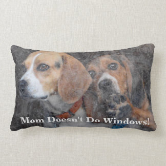 Funny Mom Doesn't Do Windows Beagle Lumbar Pillow