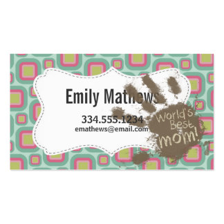 Funny Mom Gift; Pink and Mint Retro Business Card Template