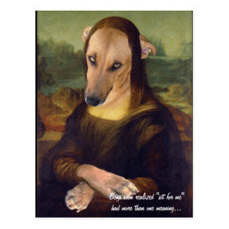 Funny Mona Lisa Dog Meme Picture Postcard