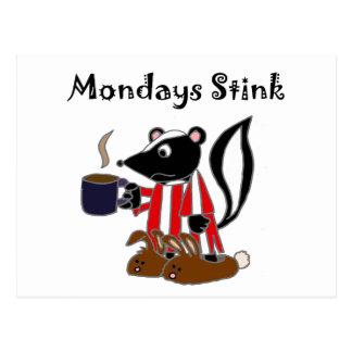 Funny Mondays Stink Skunk Cartoon Postcard