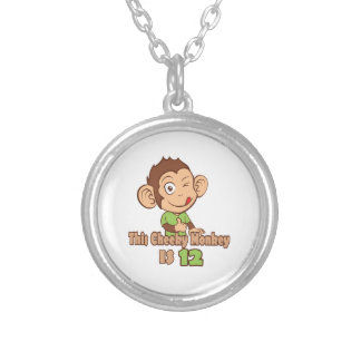 Funny Monkey 12 year old birthday Silver Plated Necklace