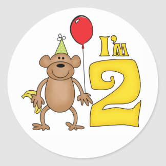Funny Monkey 2nd Birthday Classic Round Sticker