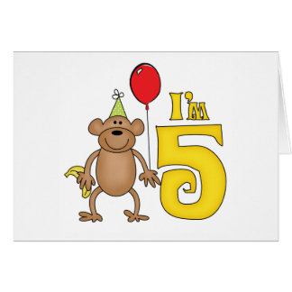Funny Monkey 5th Birthday Note Card