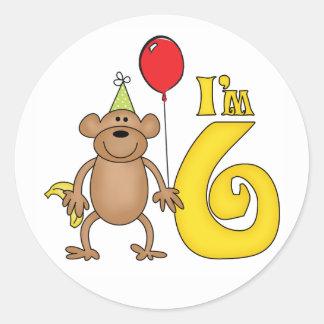 Funny Monkey 6th Birthday Classic Round Sticker