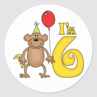 Funny Monkey 6th Birthday Round Sticker