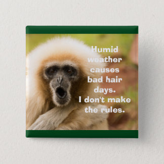 Funny Monkey Bad Hair Day 2 Inch Square Button