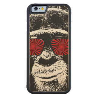 Funny monkey carved maple iPhone 6 bumper case