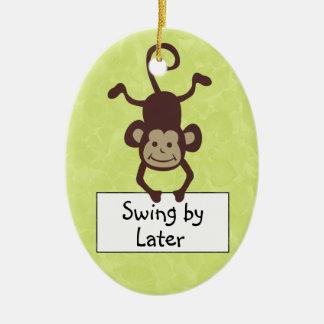 Funny Monkey Door Hanger Ceramic Oval Ornament