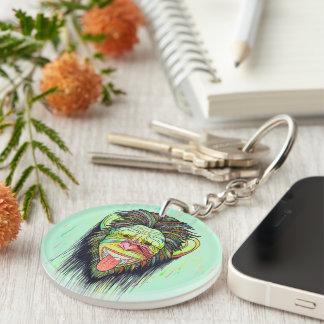 Funny Monkey Double-Sided Round Acrylic Keychain