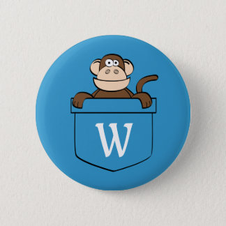 Funny Monkey in a Pocket Monogrammed 2 Inch Round Button
