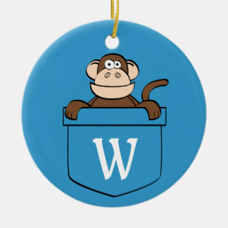 Funny Monkey in a Pocket Monogrammed Ceramic Ornament