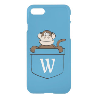 Funny Monkey in a Pocket Monogrammed iPhone 8/7 Case
