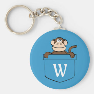 Funny Monkey in a Pocket Monogrammed Keychain