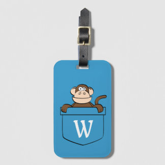 Funny Monkey in a Pocket Monogrammed Luggage Tag