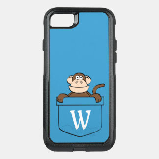 Funny Monkey in a Pocket Monogrammed OtterBox Commuter iPhone 8/7 Case