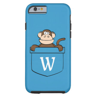 Funny Monkey in a Pocket Monogrammed Tough iPhone 6 Case