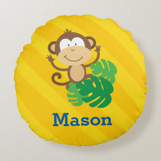 Funny Monkey in the Jungle Round Pillow