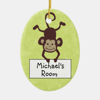 Funny Monkey Personalized Door Hanger Ceramic Ornament