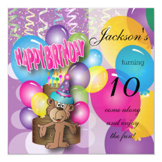 "Funny Monkey Purple Birthday Party 5.25"" Square Invitation Card"