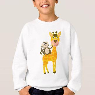 Funny Monkey Riding a Giraffe Cartoon Sweatshirt