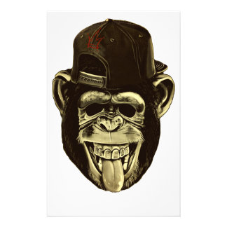 Funny Monkey with Hat Stationery Paper