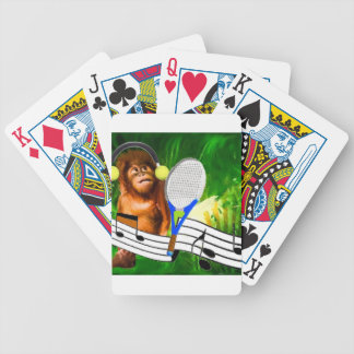 Funny monkey with racket poker deck