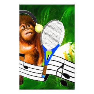 Funny monkey with racket stationery