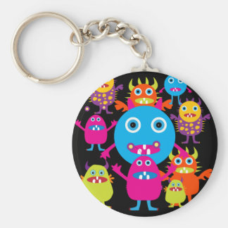 Funny Monster Bash Cute Creatures Party Basic Round Button Keychain