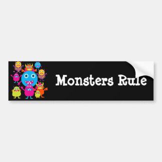 Funny Monster Bash Cute Creatures Party Bumper Sticker