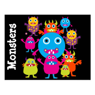 Funny Monster Bash Cute Creatures Party Postcard