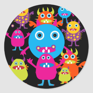 Funny Monster Bash Cute Creatures Party Round Sticker
