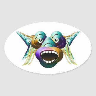 Funny Monster Character Portrait Oval Sticker