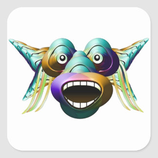 Funny Monster Character Portrait Square Stickers
