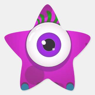 Funny monster eye star sticker