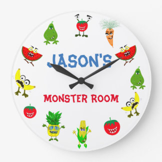 Funny Monster fruit friends children room Large Clock