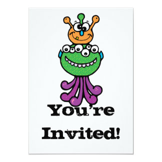 "funny monster 5"" x 7"" invitation card"
