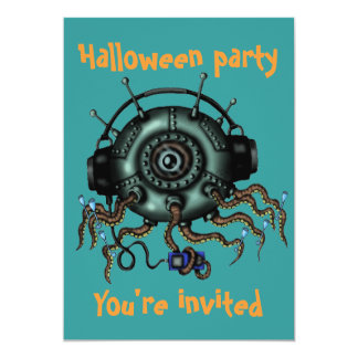 Funny monster octopus Halloween party invitation