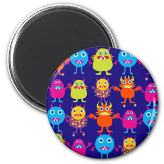 Funny Monster Party Cute Creatures on Blue 2 Inch Round Magnet
