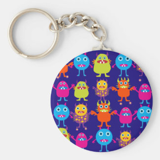 Funny Monster Party Cute Creatures on Blue Basic Round Button Keychain