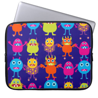 Funny Monster Party Cute Creatures on Blue Computer Sleeves