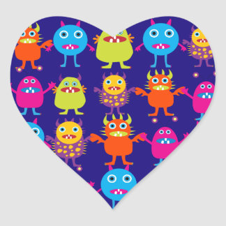 Funny Monster Party Cute Creatures on Blue Heart Sticker
