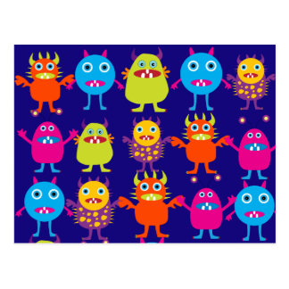 Funny Monster Party Cute Creatures on Blue Post Cards
