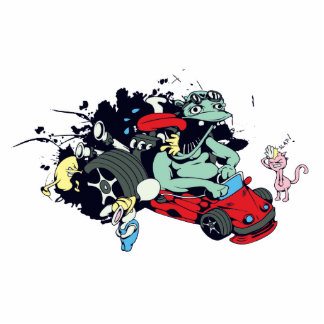 funny monster racer pit stop vector cartoon cut outs