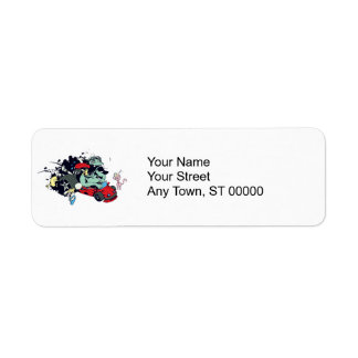 funny monster racer pit stop vector cartoon return address label