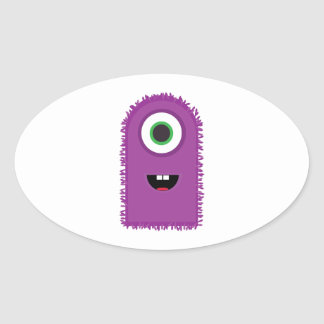 Funny Monster Oval Sticker