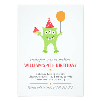 """Funny monster with balloon and cupcake birthday 5"""" x 7"""" invitation card"""