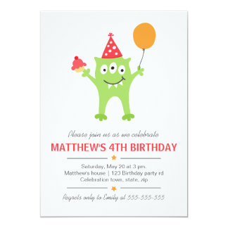 Funny monster with balloon and cupcake birthday card