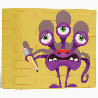 funny monster with pencil notebook binder