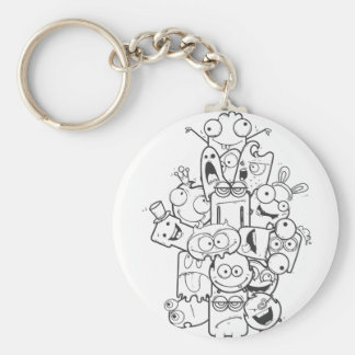 funny monsters basic round button keychain