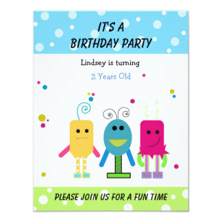 Funny Monsters Birthday Invitation
